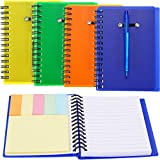 SATINIOR Set of 4 Spiral Notebook Steno Notebook Pocket Lined Notepad with Pen in Holder and Sticky Notes Index Tabs Page Marker for School and Office, Assorted Colors (Orange, green, blue, yellow)