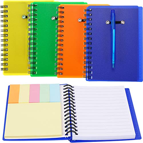 (SATINIOR Set of 4 Spiral Notebook Steno Notebook Pocket Lined Notepad with Pen in Holder and Sticky Notes Index Tabs Page Marker for School and Office, Assorted Colors (Orange, green,)