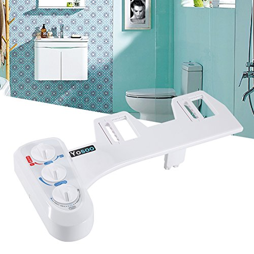Hot/Cold Bidet Self Cleaning Dual NozzleToilet Attachment Spray Non-Electric Bathroom Seat by Yosoo