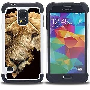 """SAMSUNG Galaxy S5 V / i9600 / SM-G900 - 3 en 1 impreso colorido de Altas Prestaciones PC Funda chaqueta Negro cubierta gel silicona suave (León de la caída del otoño Negro abstracto"""")"""