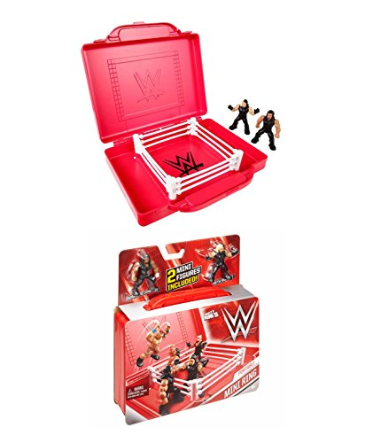 (WWE Mighty Minis 2 Piece, Roman Reigns & Seth Rollins Figures & Portable Ring Play Set With BONUS (1) Blind Mighty Mini Figure)