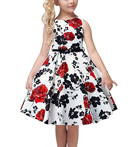 (uideazone Girls' Casual Pleated Skirt Dress Elegant 3D Cool Floral Pretty Knee Length Birthday Sundress with Belt for Dress Up Party 12-13 Years White)