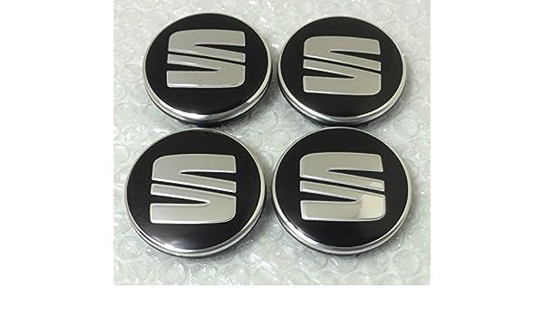 4 tapas con logo de SEAT para tapacubos, 56 mm, en negro y plata: Amazon.es: Coche y moto
