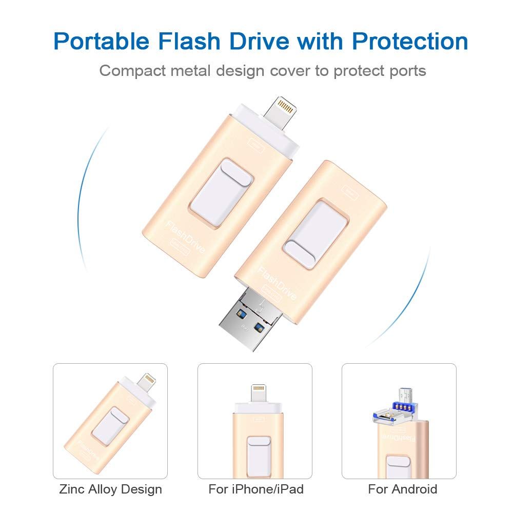 Flash Drives for iPhone and iPad 128G,SUNANY iOS Flash Drive Memory Stick Expansion for iPhone,iPad,MacBook,Android,pc and More Devices with USB Port (128GB Gold) by Sunany (Image #4)
