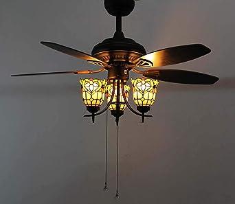 Juego de luces para ventilador de techo, color Tiffany estilo vintage, 3 cabezas, vidrio teñido, suspensión de lámpara, aleación de zinc color bronce con hojas de madera contrachapada: Amazon.es: Iluminación
