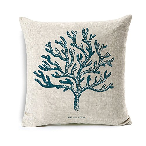 All Smiles Navy Blue Coral Throw Pillow Case Cushion Cover 18