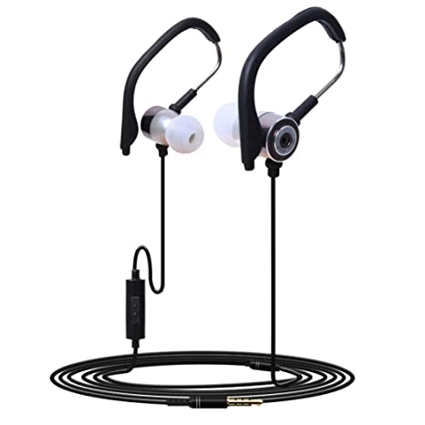 4b1fb0dba906ec Buy 3.5mm In Ear Clip On Sport W/ Mic Stereo Earphone Jogging Headphone  (Gray) Online at Low Prices in India - Amazon.in