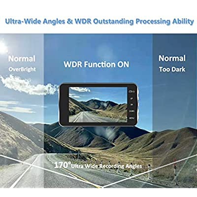 Dual Dash Camera for Cars Dash Cam Front and Rear 1080P Full HD Car Recorder 4 Inch IPS Screen 170°Wide Angle,Super Night Vision,WDR,Motion Detection,Loop Recording,G-Sensor,Parking Monitoring: Car Electronics
