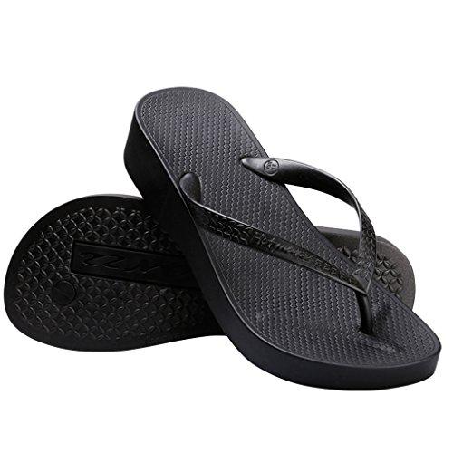 tform Flip Flop Wedge Sandal Summer Beach Slippers Size 7 B(M) US / 38 EU, Black ()