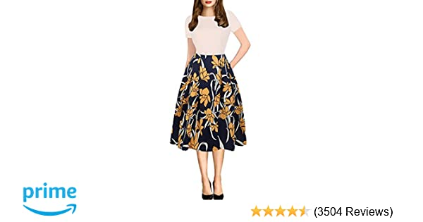 f848749ea53f4 oxiuly Women's Vintage Patchwork Pockets Puffy Swing Casual Party Dress  OX165 at Amazon Women's Clothing store: