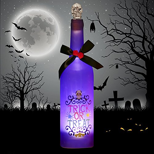 Valery Madelyn Happy Halloween Decoration Bottle with Lights and Scary Sound, Purple Glass Wine Bottle with Spooky Skull Cork, Battery Operated and Touch (Purple Wine)