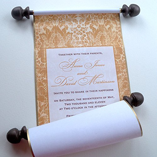 10 Golden Fairytale Castle Wedding Invitation Scrolls in Shades of Gold and Brown, custom handmade (Scroll Wonderland)