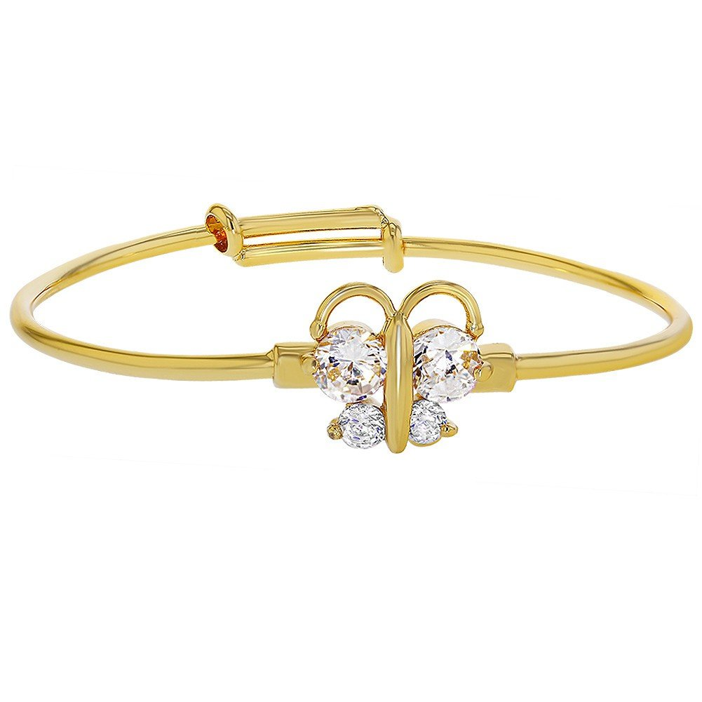 18k Gold Plated Clear Crystal Adjustable Butterfly Baby Bangle Bracelet Girl In Season Jewelry 02-0243