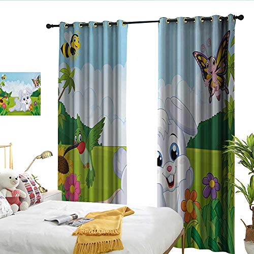WinfreyDecor Kids Insulated Sunshade Curtain Rabbit on The Grass with Bee and Butterfly Birds Flowers Children Cartoon Fun Design Noise Reducing W96 x L108 ()