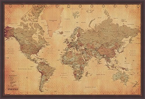 World Map Vintage Style Framed Fine Art Print with Brown Value Line Frame and Clear Styrene Image Cover, Finished Size 38 inches X 26 inches Cost Frame Jersey