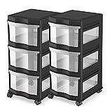 MRT SUPPLY Classic 3 Shelf Storage Organizer Plastic Drawers, Black (2 Pack) with Ebook