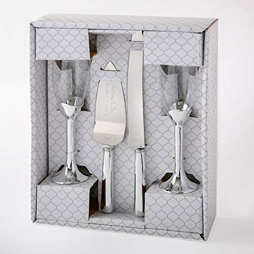 Metallic Silver 4-Piece Toasting Glasses and Engraved Cake Server and Knife Wedding/Anniversary - Resin Toasting Flutes