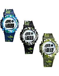 Kids Camouflage Digital LED Multi-Function Military Outdoors Wristwatch (3 Colors) (Pack of 3)