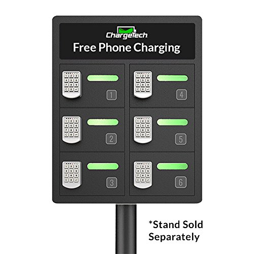 Secure Cell Phone Charging Locker w/ 6 Digital Combination Locking Bays & Universal Charging Tips Included for All Devices - By ChargeTech - (Model: PL6) [Black] by ChargeTech (Image #1)
