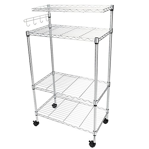 TimmyHouse Bakers Rack Storage Rack Microwave Oven Stand with Hanging Hooks Chrome 4-Tier]()