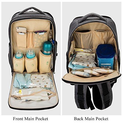 Lekebaby Mochila para pañales con cambiador y gancho para carrito de bebé, color gris