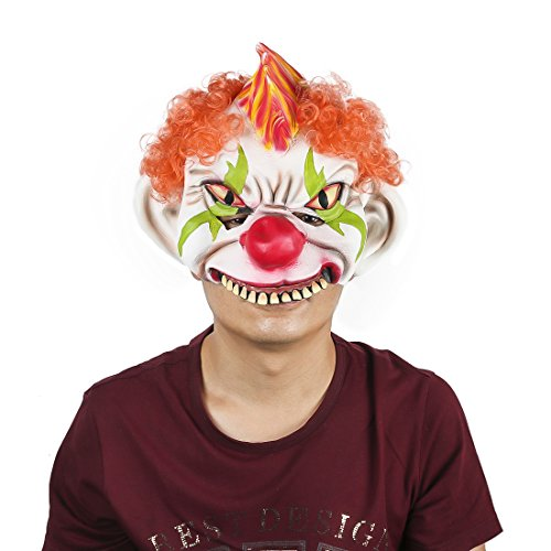 Horror Evil Clown Mask Chinless Latex Adult Half Face Mask Scary Head Red Nose Halloween -