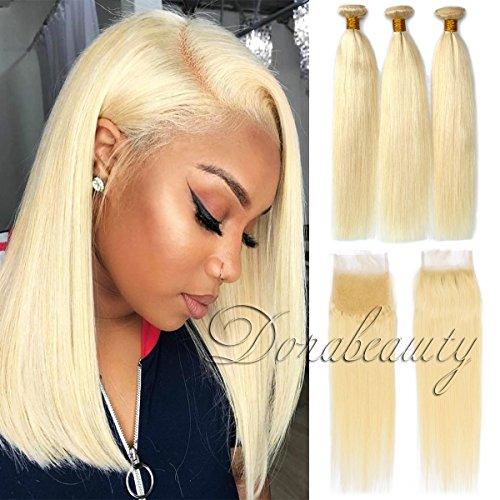 Dorabeauty #613 Blonde Hair 44 Lace Closure with 3 Bundles 100% Brazilian Remy Human Hair (ST 10