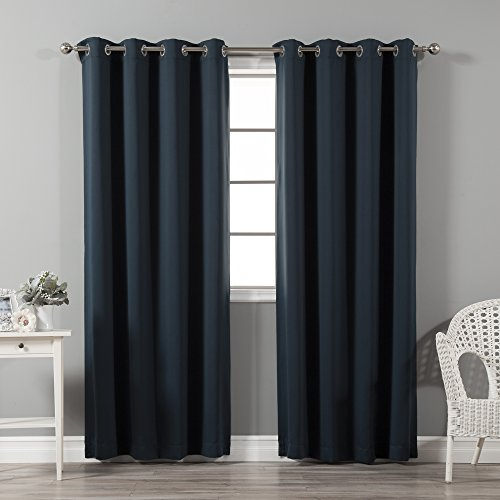 Best Home Fashion Thermal Insulated Blackout Curtains - Stainless steel nickel Grommet Top - Navy - 52