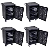 DMD Mobile Charging and Storage Cart / Security Station, Stores 30 Mobile Devices (Ipad and Tablet), Locking Cabinet, Professional Series 4 Pack for Schools and Offices