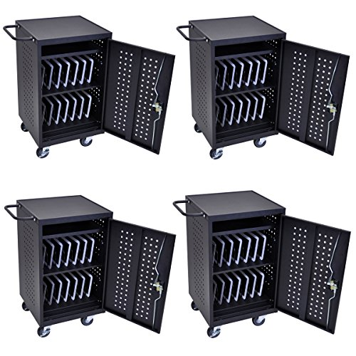 DMD Mobile Charging and Storage Cart / Security Station, Stores 30 Mobile Devices (Ipad and Tablet), Locking Cabinet, Professional Series 4 Pack for Schools and Offices by Discount Medical Depot LLC