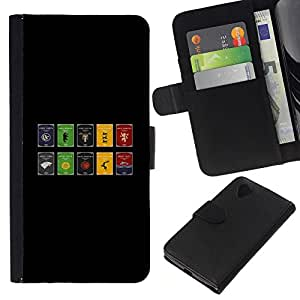 LECELL--Cuero de la tarjeta la carpeta del tirón Smartphone Slots Protección Holder For LG Nexus 5 D820 D821 -- Juego De Thron Sygils --