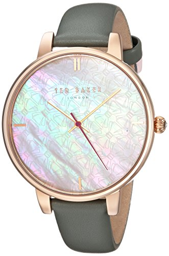 Ted Baker Women's 'KATE' Quartz Stainless Steel and Leather Casual Watch, Color Grey (Model: TEC0025002)