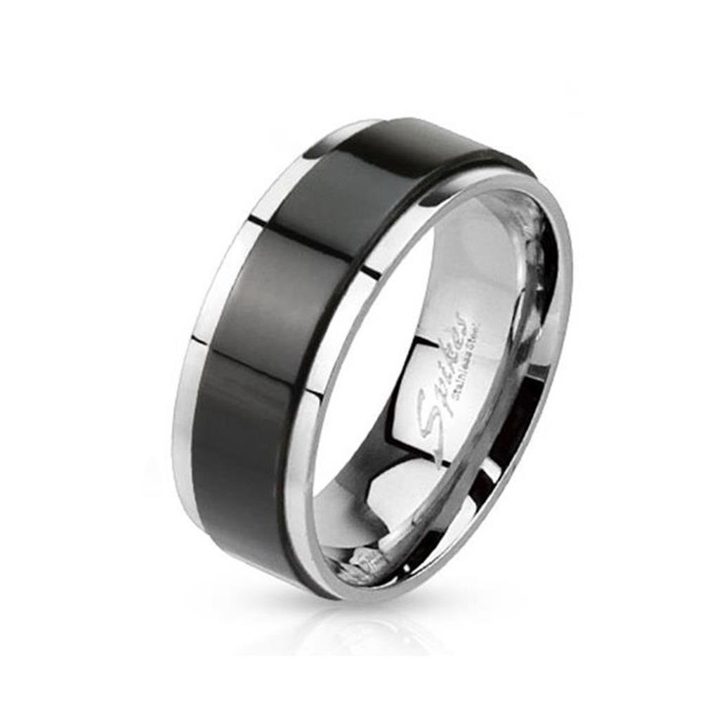 Paula & Fritz Stainless Steel Ring Surgical Steel 316L 6 or 8mm Wide Spinner with Black Band R-H1658