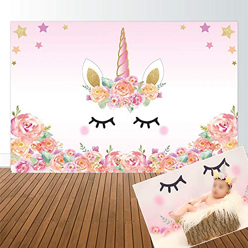 sign 5x3ft Unicorn Theme Birthday Pink Party Backdrop for Girl Baby Shower Backdrops Background Event Decor Decorations Newborn Portrait Photography Pictures Supplies Favors ()