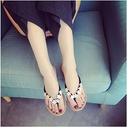 Flops Women Beaded Fashion Flower Toe Anti Slip Slippers Black Peep ACMEDE Thongs Flat Shoes Girls Casual Roman Flip Heel YEPqqwOd
