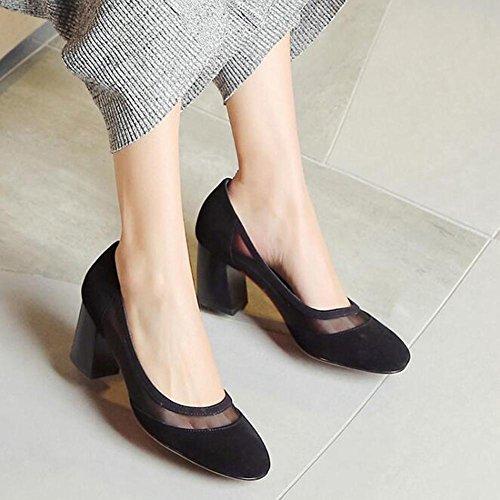 Beauqueen 2017 Moda bombas de organza de ante de pío-dedo del pie de bajo talón de verano casual Oficina zapatos elegantes de Europa de tamaño 34-39 Grey