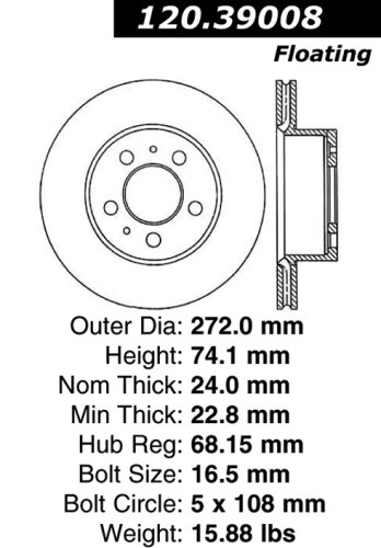 Centric Parts 120.39008 Premium Brake Rotor with E-Coating
