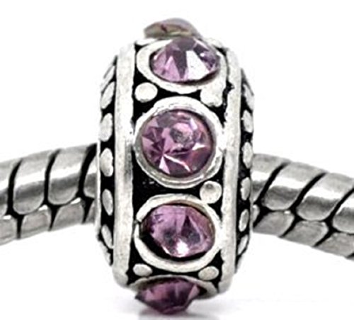 Pro Jewelry Birthstone Spacer Charm (June Alexandrite Light Purple) Bead Compatible with European Snake Chain Bracelets