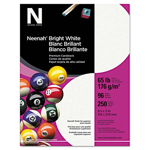 White Letter Sheet - Neenah Card Stock, Letter, Bright White, 65lb, 250 Sheets|1-Pack