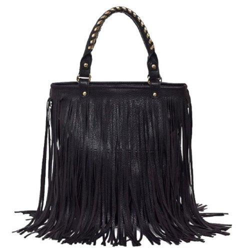 Women Black PU Leather Punk Tassel Fringe Shoulder Handbag/Hobo Tote Bags