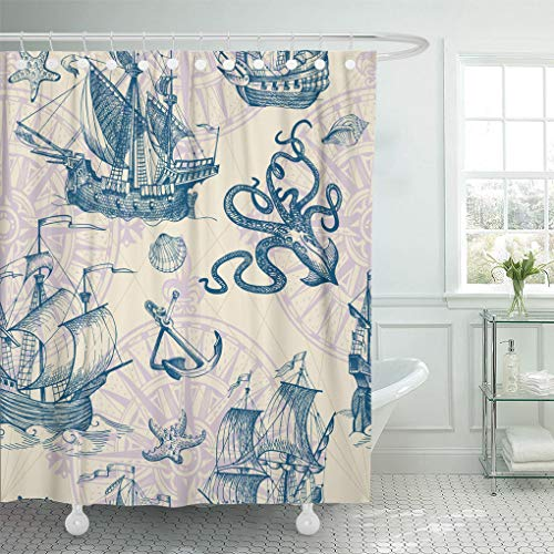 (Emvency Shower Curtain Set with Hooks Polyester Fabric Old Caravel Vintage Sailboat Sea Monster Sketch for Boy Detail Waterproof Adjustable 60 x 72 Inches for Bathroom)