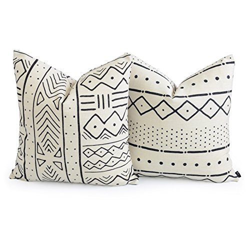 Hofdeco Premium Decorative Throw Pillow Cover HEAVY WEIGHT Cotton Linen African Mud Cloth Inspired Print Ethnic Natural Dots and Line 20x20 Inches 50x50cm Set of 2