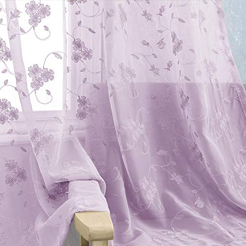 Purple Embroidery Semi Sheer Curtains Lilac for Bedroom 2 Panels Rod Pocket Violet Vintage Floral Embroidered Voile Curtain Panels for Living Room 63 inch Length Lilac Window Treatment Set ()