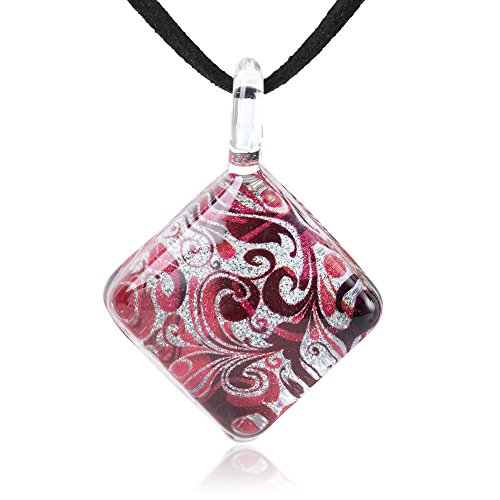 Chuvora Hand Blown Glass Jewelry Red & Silver Abstract Flower Art Square Pendant Necklace, 17-19