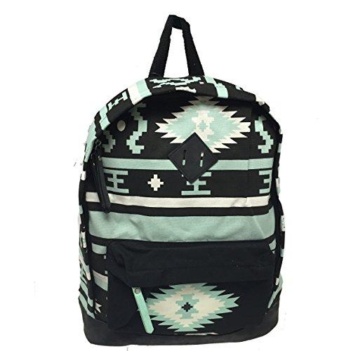 Ginco Two Pocket Olaha Laptop & Bookbag -Made from 100% Lighweight Quickdry cotton - Tribal Black/Mint ()
