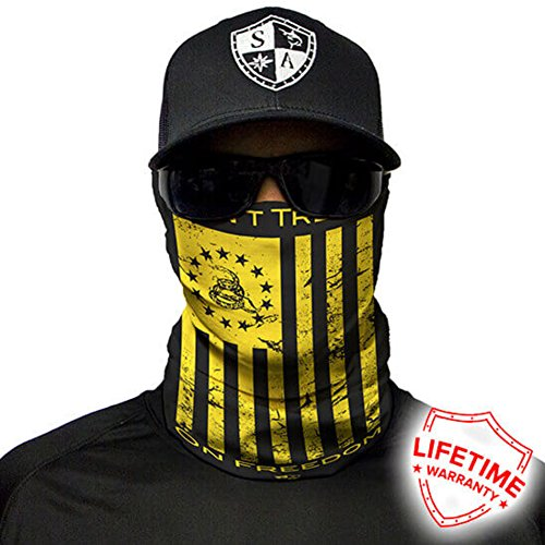 Salt Armour Face Mask Shield Protective Balaclava Bandana MicroFiber Tube Neck Warmer (Dont Tread on Me Yellow) (Dont Tread)