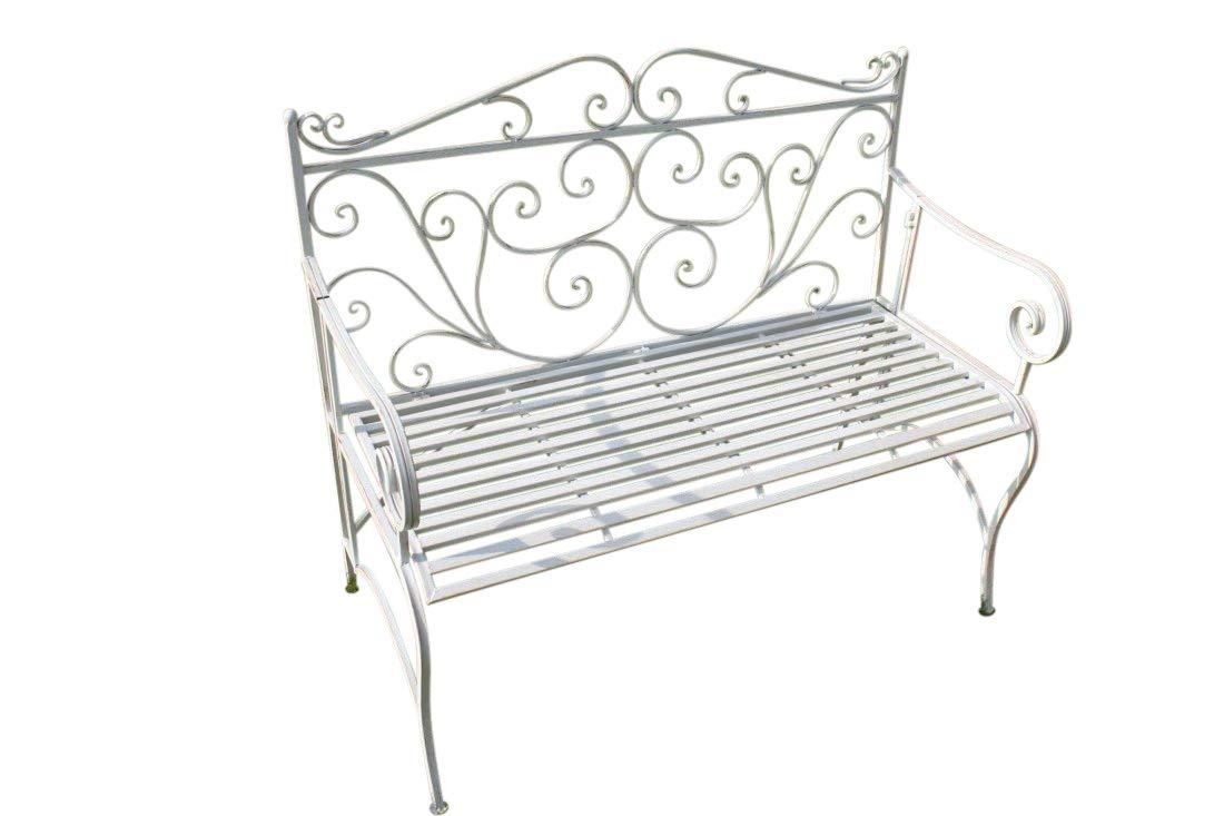 Zusammenklappbare Gartenbank aus Metall, im Versailles-Stil und in antikem Weiß Olive Grove