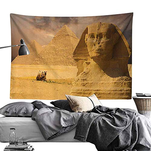 (Homrkey Smooth and Smooth Tapestry Egyptian Decor The Great Sphinx Face with Other Pyramids in Egypt Old Historical Monument Hippie Tapestry W70 x L59 Amber Sand Brown)