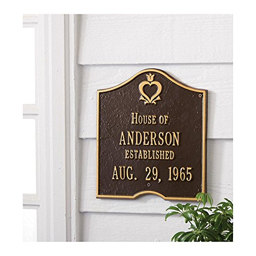 House Plaque (Personalized House Of Custom Aluminum Indoor/Outdoor Anniversary Wall Plaque - Bronze And Gold)