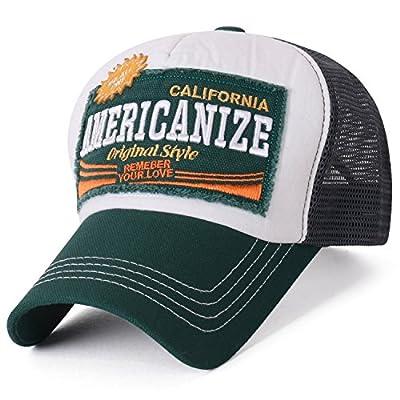 ililily Americanize Logo Pre-Curved Mesh Back Snapback Trucker Hat Baseball Cap